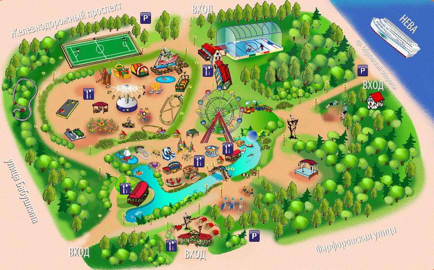 Парк сказка в крылатском схема парка